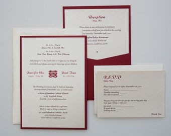 Bilingual English/Vietnamese Oriental Chinese Double Happiness Symbol  Invitation Suites