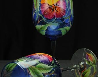 Hand Painted Large Wine Glass / Pansies On Blue Glass