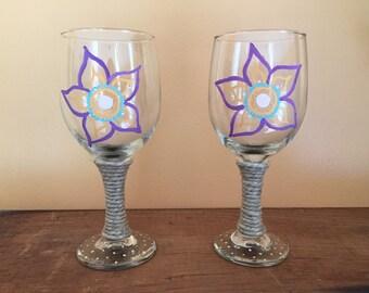 Purple Flower Boho Wine Glasses
