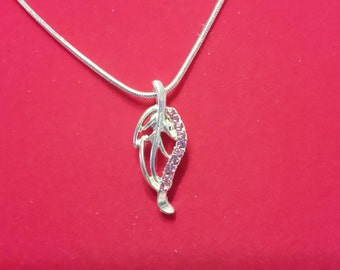 Silver and pink leaf necklace