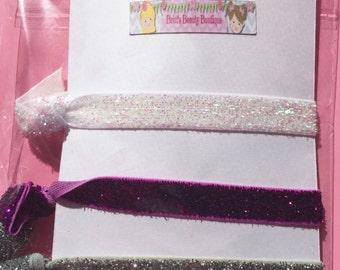 Ready to Ship/Set of Three Glitter Hair Tie Elastics/Toddler/Girl/Favors/Braclets
