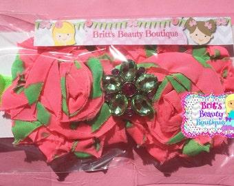 Ready to Ship Watermelon Flower Gemstone Headband/Neon Pink/Neon Green/Flower/Summer/Girl/Toddler/Tween/Photography Prop