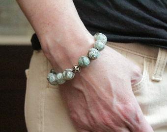 spring birthday gift for her / gemstone jewelry / jade green bracelet / layering bracelet pale green beaded stretch bracelet agate