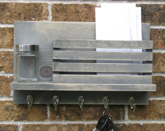 Mail and Key Holder Rustic Gray and Aged