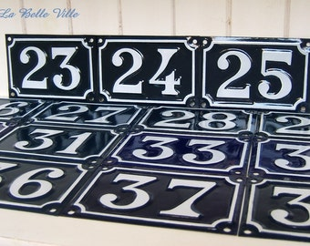 Vintage French enamel house number - Blue street plate- 24,25,27,28,29,34,35,37,52,61,65,67,72,73,74,76,83,84,86,87,88,91,92,94,108