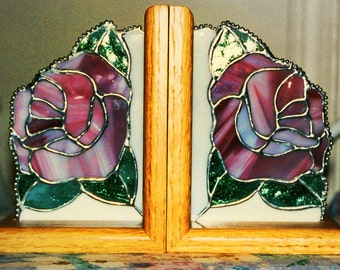 BOOK ENDS - Rose Stained Glass Bookends