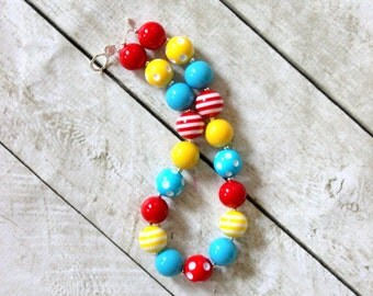 circus bubblegum chunky necklace for girls red yellow blue beaded carnival necklace birthday necklace girl aqua yellow red circus necklace