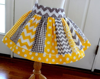 skirt for girls yellow and gray skirt  birthday girl outfit chevron skirt chevron polka dot quatrefoil houndstooth skirt