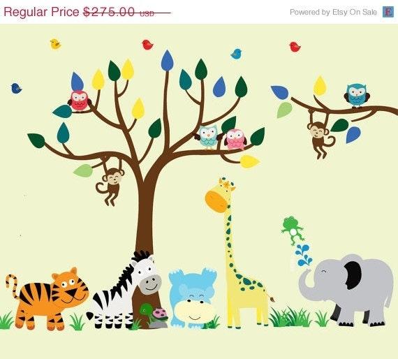 Kids jungle wall decal reusable fabric tree wall by for Kids jungle fabric