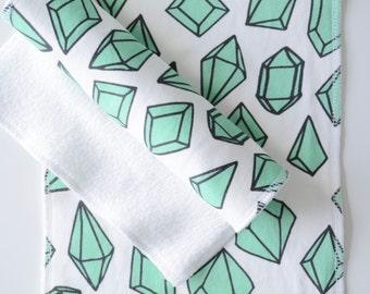Organic Burp Cloth - White with Mint Jewels
