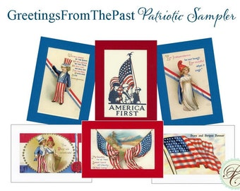 Patriotic 6 card sampler - Greetings from the Past