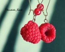 Raspberry dangle earrings ,fruit earrings,berries,vegan jewelry,lchf, paleo ,ketogenic jewelry,woodland ,retro ,food jewelry,hypoallergenic