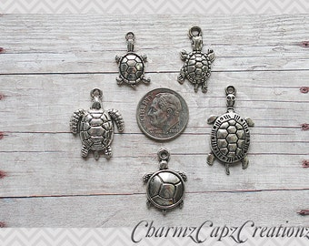 MINI Charm Set / 5 Pieces / Turtles / Set Lot Collection / Jewelry Scrapbooking Crafts / Turtle / I Love Turtles