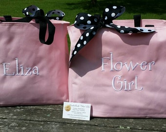 FLOWER GIRL Gift Bag, Petal Princess, Princess of Petals, Wedding Rehearsal Gift, Flower girl tote,  Girls personalized bag, bow extra