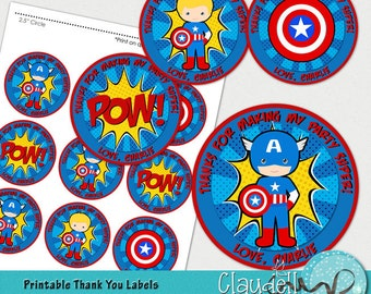 "Superheroes Captain America Inspired Printable Thank You Labels / Tags / Party Circles 2.5"" - 300 DPI"