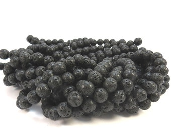 Lava Rock Beads, Black Lava Rock, 8mm Round Beads, 16 inch Strand, Beading Supplies, Item 633pm