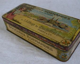 Vintage 1920s French Tin box Bouchees Normandes Pâte de Pomme