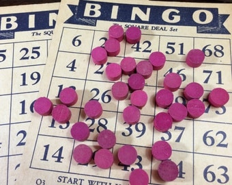 20 Vintage Wooden BINGO MARKER Chips Tokens Chits -1930's