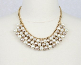 Cluster Pearl Necklace Champagne Chunky Pearl Bib Necklace Statement Necklace
