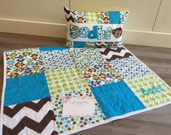 Royal Monkey Crib Quilt and Pillow set