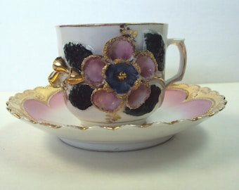 Hand Painted Pink Majolica Cup and Saucer English Victorian