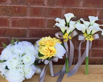 4 bouquet set-Ivory nice roses and Real touch calla lily arrangement