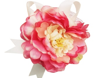 Wrist Corsage-Peony with Pearl bracelet-Pick color