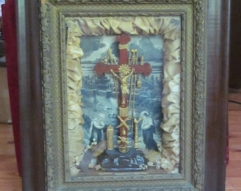 Religious Frame  Crucifix  Shadow Box  c.1877  THY KINGDOM COME