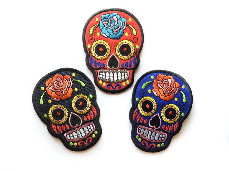 Sugar Skull Patch / RED / Sugar Skull Iron-on Patches by ...