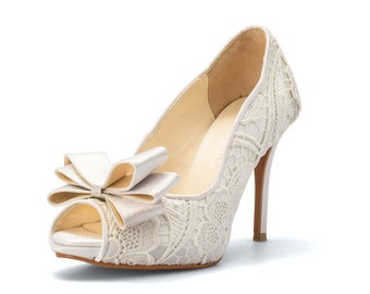 Custom Made White Jade Wedding Shoes, White Lace Wedding Shoes, White, Bridal Shoes, Custom Made White Jade Heel