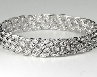 925 Sterling Silver Diagonal Basket Weave Woven Bangle