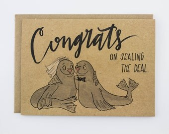Sealing the Deal, Punny Illustrated Card, Wedding Congratulations Card