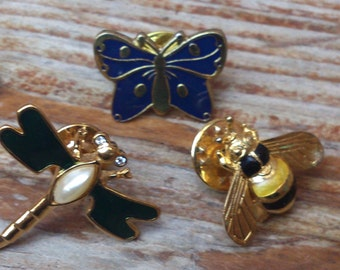 Three vintage pins, dragonfly, butterfly and bee