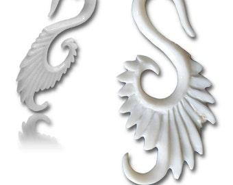 Swali Bone Earrings.Fake Gauges, Handmade, Wood Earrings, Cheaters, Organic, Plugs, Split, Tribal Style