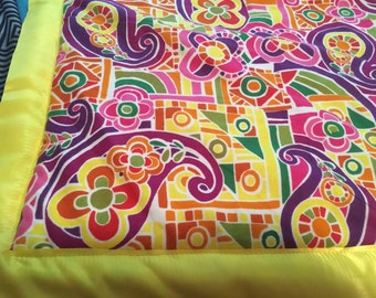 Bright paisley colorful baby quilt
