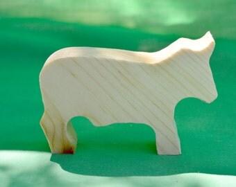 Bull, Cow, Toy Bull, Wood Toy, Handmade Wood Toy, Wood Farm Toy
