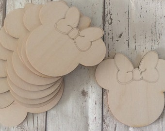 pack of 10 unpainted laser cut Minnie Mickey Mouse heads with choice of holes or not perfect for crafting into a garland