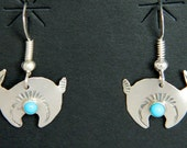 Navajo Native American Hand Stamped Sterling Turquoise Rabbit Earrings Ed Abeyta