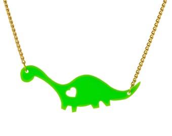 Dippy Dino Necklace - Green Acrylic Diplodocus Dinosaur Necklace