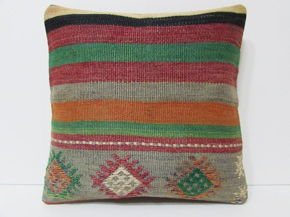 Eclectic Pillow Cases : kilim pillow 18x18 eclectic kilim by DECOLICKILIMPILLOWS on Etsy