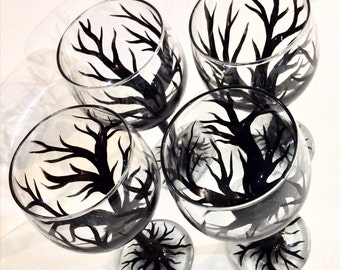 Tree Lover's Silhoutte Wine Glasses