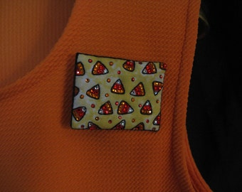 SPARKLY HALLOWEEN PIN-Candy Corn-Swarovski Crystal-Wearable Magnetic Brooch