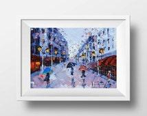 Paris Print, Paris Decor, French Chic, Giclee, Paris Painting, Abstract Art, Landscape Print, Paris Streets, 5x7,8x10,11x14, Signed Print