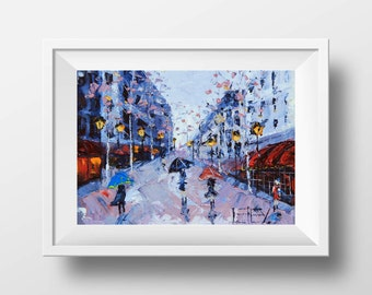 Paris Print, Paris Decor, French Chic, Giclee, Paris Painting, Abstract Art, Landscape Print, Paris Streets, 5x7,8x10,11x14, Signed Print