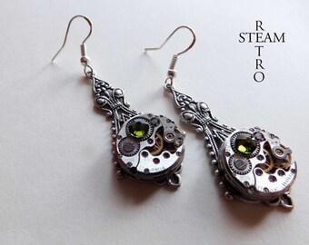 10% off sale17 Green steampunk filigree earrings - steampunk earrings - victorian earrings - steampunk jewelry by steamretro -Christmas gift