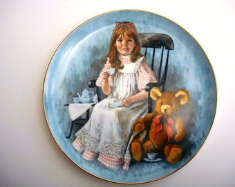 Vintage Collectible Wall Plate, Ceramic Wall Plate, Wall Plate for Children, Wall Plate for Girls, Tea Party Wall Plate