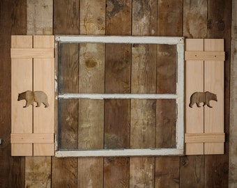 Exterior Bear Shutter made of Premium Pine perfect for your Cabin, cottage, or beach house great rustic northwoods decor