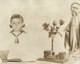 Antique Picture Young Girl and Virgin Mary - Black and White Photo - 1964-65 - M80