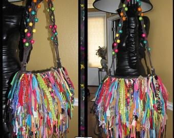 Handmade Fringe Bag,Ultra Fringe,Rhinestones and Beads Upcycled handbag,unique one of a kind