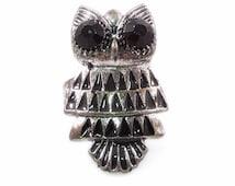 Silver Tone Owl Adjustable Ring with Black Rhinestone Eyes